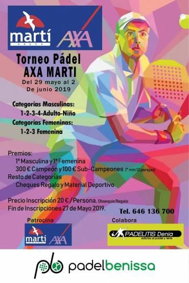 Grupo Martí patrocina el próximo torneo de Padel Benisa